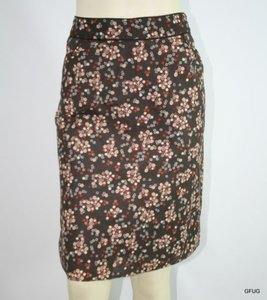 Kenneth Cole York P4 Brown Vintage Inspired Floral Print Skirt Multi-Color