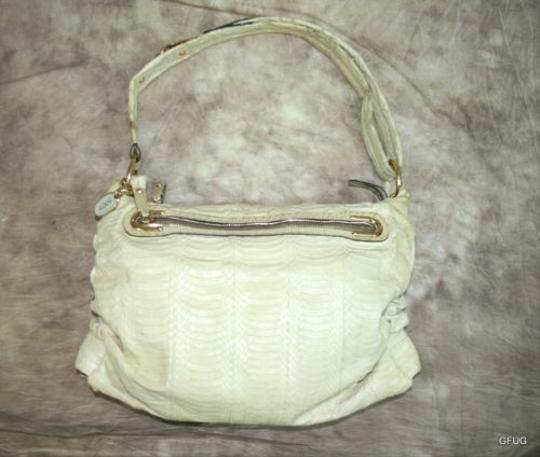 Tod's Italy Snakeskin Ruched Gold Hardware Shoulder Bag