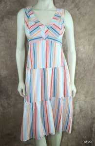 Odille Anthropologie Candy Stripe Tiered Poplin Sun Dress