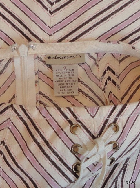 Elevenses Anthropologie Striped Corset Accent Skirt Brown Pink