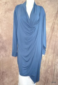 Mark Zunino 3x Rayon Knit Wrap Draped Long Sleeves Cowl Neck Top Blue