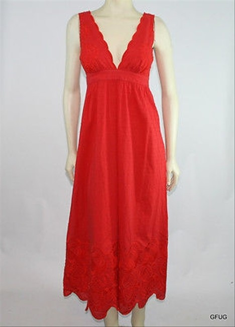 Red Maxi Dress by Lotta Stensson Floral Embroidered Maxi Swiss Dot