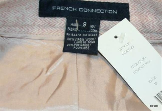French Connection Wool Blend Chevron Print Pencil Flutter Hem Skirt Pink