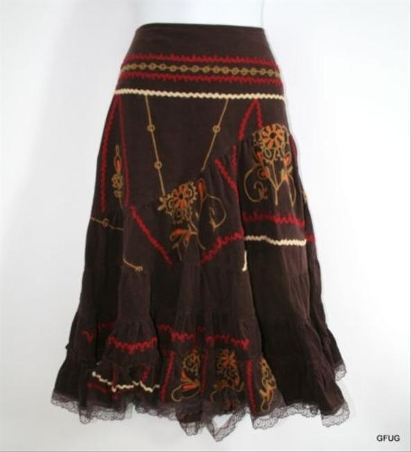 Michele Corduroy Floral Embroidered Tiered Flared Boho Fiesta Skirt Brown