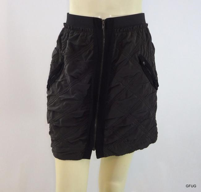Item - Leifnotes  Brown Quilted Exposed Zip-up Straight Skirt Pockets