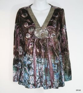 One World Live Let Live Velvet Floral Blouse Beaded Trim Tunic