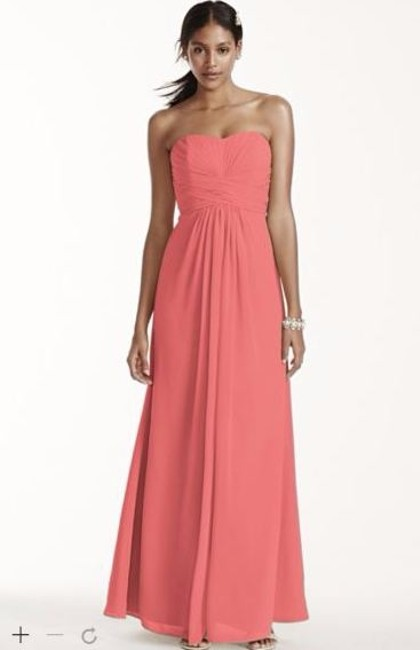 Item - Coral Reef Chiffon Long Strapless and Pleated Bodice Style: F15555 Modern Bridesmaid/Mob Dress Size 2 (XS)