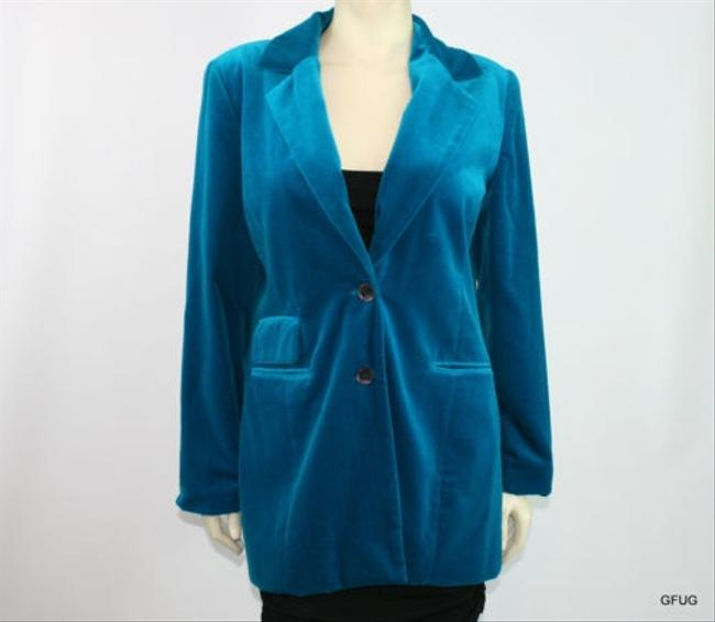 Together Together Teal Blue Velveteen Blazer Jacket