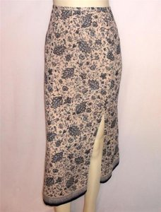 Talbots 8p Floral Print Silk Front And Back Slits Skirt Blue