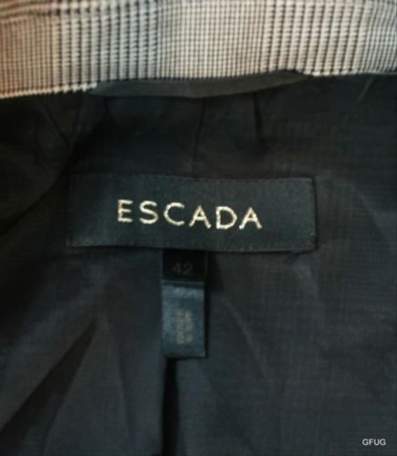 Escada Escada Black White Wool Silk Plaid Print Blazer Jacket Button Front