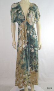 Multi-Color Maxi Dress by Indah Green Blue Floral Batik Dye Maxi Empire Waist Tie Short Sleeve