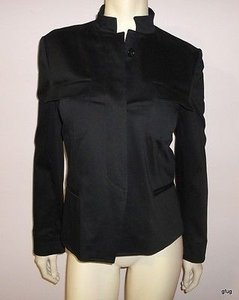 Other Maryjane Marcasiano Black Cotton Stretch Militant Style Blazer Jacket 810