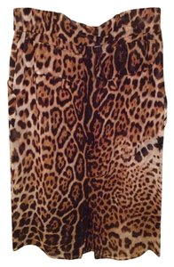 Yves Saint Laurent Silk Leopard Below Knee Skirt