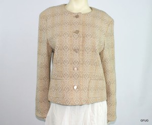 Pendleton Pendleton Virgin Wool Beige Tweed Blazer Jacket Diamond Print Collarless