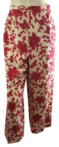 Talbots Red Silk Linen Cropped Capri/Cropped Pants Red, Ivory