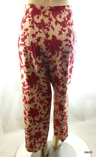 Talbots Silk Linen Capri/Cropped Pants Red, Ivory
