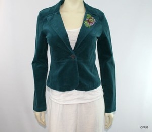 Aziz Aziz Teal Blue Green Beaded Fine Corduroy Blazer Jacket One-button
