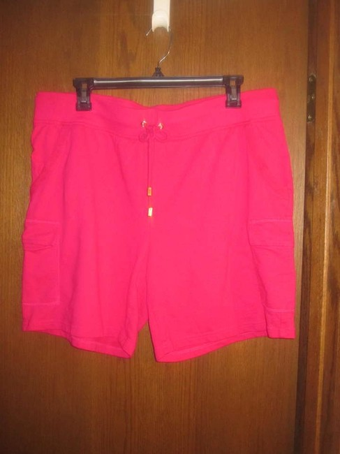 Liz Claiborne Top Cream, hot pink, lime green, tan and brown