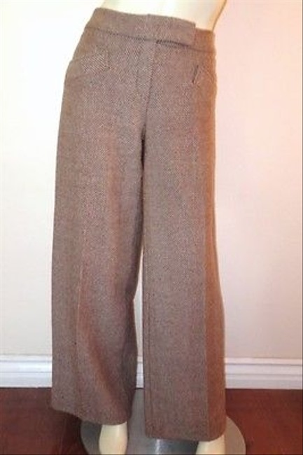 Caterina Lucchi Italy Beige Wool Blend Weaved Italy Pants