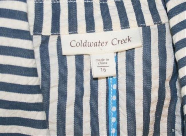 Coldwater Creek Coldwater Creek Blue White Puckered Striped Nautical Blazer Jacket