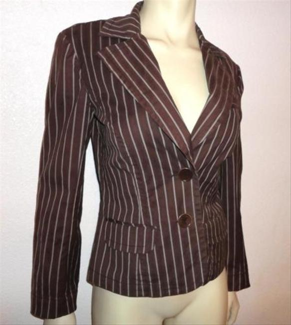 Trina Turk Trina Turk Brown White Striped Button-up Blazer Jacket Cotton Blend