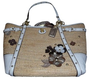 Coach Natalie Summer Casual Flower Applique Retro Zebra Embellished Floral Design Leather Tote in straw/gold/brown/white