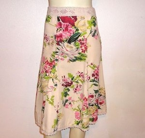 CAbi 0 Floral Print Lace Trim Gored Flare Ohare Style 380 Spring 2011 Skirt Multi-Color