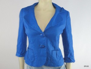 Cynthia Steffe Cynthia Steffe Blue Linen Blend Button-up Blazer Jacket 12 Sleeve