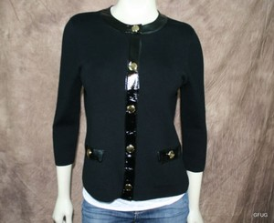 Jones New York Jones York Black Knit Collarless Blazer Jacket Snap Gold Button