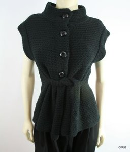 Beth Bowley Woven Knit Sleeveless Belt Waist Tie Sweater