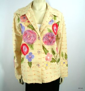 Indigo Moon Indigo Moon Yellow Floral Embroidered Applique Art-to-wear Blazer Jacket