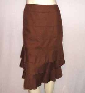 Etcetera Wool Tiered Ruffled Elegant Skirt Brown
