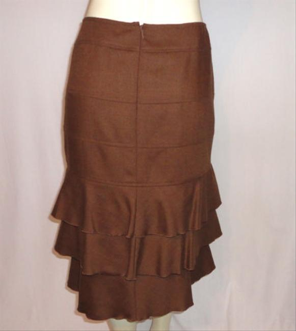Etcetera Pure Wool Tiered Ruffled Elegant Skirt Brown
