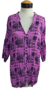 Lane Bryant Top Purple & Blue Geometric Print