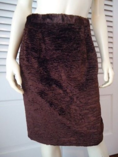 Apart Impressions Faux Fur Rayon Blend Lined Retro Mod Chic Skirt Browns