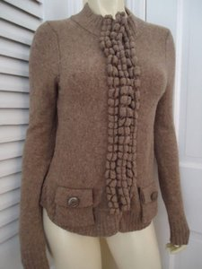 Anthropologie Moth Sp Snap Front Cardigan Wool Blend Taupe Classy Sweater