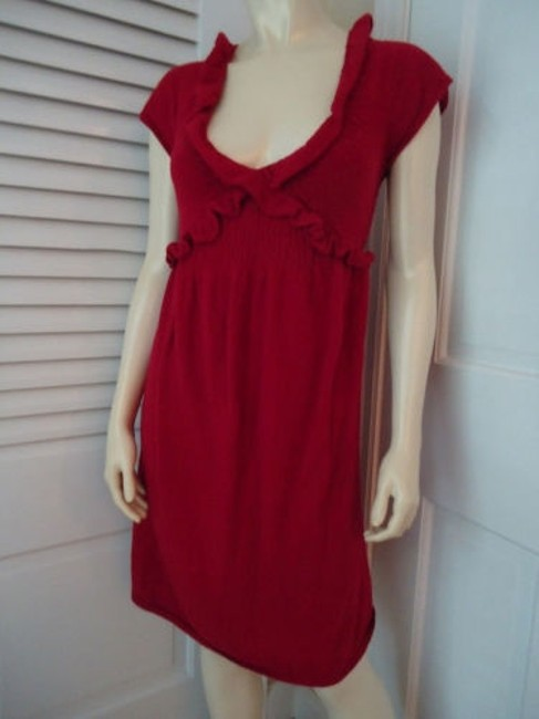 Knitted Knotted Anthropologie Dress Red Sweater Knit Rayon Wool Cashmere Blend Knitted Knotted Anthropologie Dress Red Sweater Knit Rayon Wool Cashmere Blend Image 2