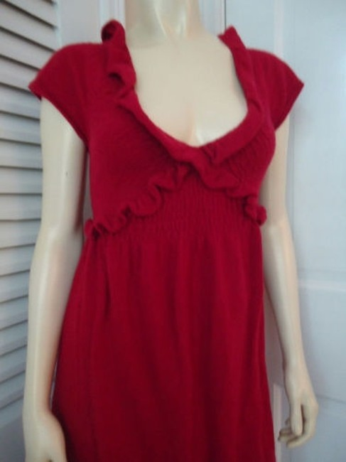 Knitted Knotted Anthropologie Dress Red Sweater Knit Rayon Wool Cashmere Blend Knitted Knotted Anthropologie Dress Red Sweater Knit Rayon Wool Cashmere Blend Image 4