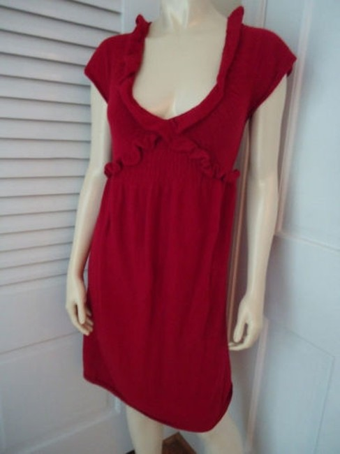 Knitted Knotted Anthropologie Dress Red Sweater Knit Rayon Wool Cashmere Blend Knitted Knotted Anthropologie Dress Red Sweater Knit Rayon Wool Cashmere Blend Image 6
