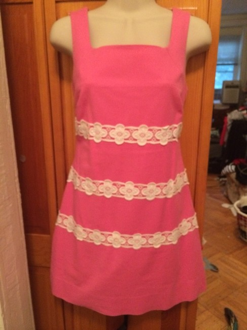 Lilly Pulitzer short dress Pink with White Embroidered Flowers on Tradesy
