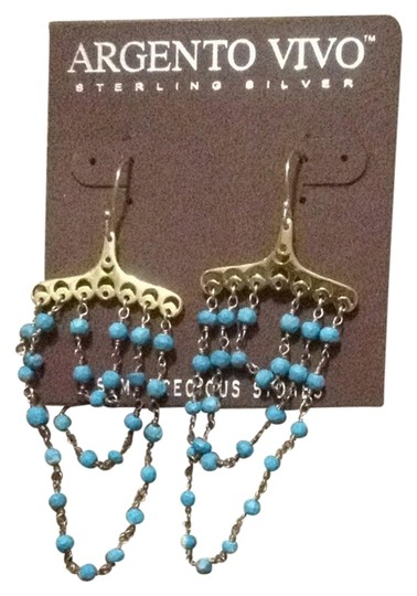 Preload https://img-static.tradesy.com/item/2987827/argento-vivo-gold-and-turquoise-semi-precious-stones-dangling-in-a-damask-an-style-0-0-540-540.jpg