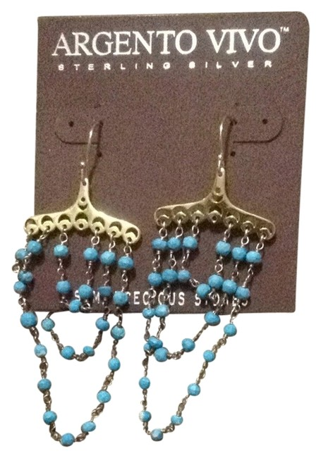 Argento Vivo Gold and Turquoise Semi-precious Stones Dangling In A Damask-an Style Argento Vivo Gold and Turquoise Semi-precious Stones Dangling In A Damask-an Style Image 1