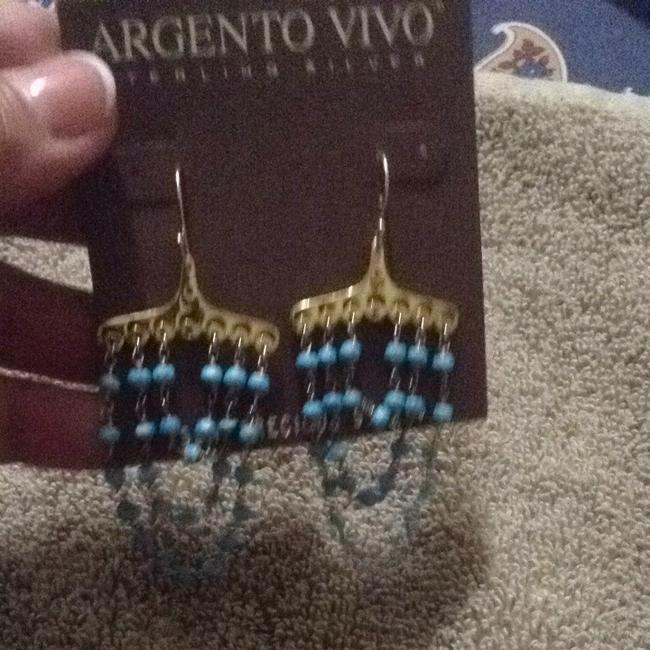 Argento Vivo Gold and Turquoise Semi-precious Stones Dangling In A Damask-an Style Argento Vivo Gold and Turquoise Semi-precious Stones Dangling In A Damask-an Style Image 4