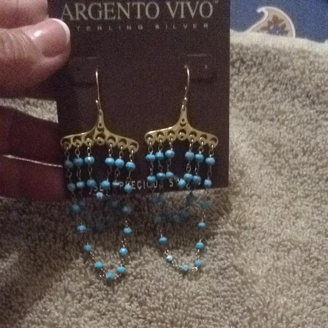 Argento Vivo Gold and Turquoise Semi-precious Stones Dangling In A Damask-an Style Argento Vivo Gold and Turquoise Semi-precious Stones Dangling In A Damask-an Style Image 5