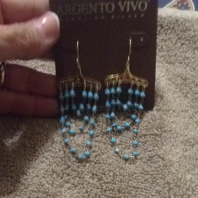 Argento Vivo Gold and Turquoise Semi-precious Stones Dangling In A Damask-an Style Argento Vivo Gold and Turquoise Semi-precious Stones Dangling In A Damask-an Style Image 6