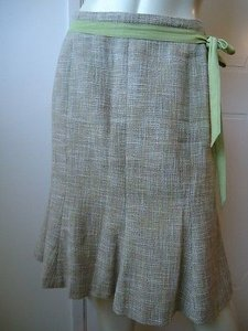 Ann Taylor Petites 6p Cotton Linen Flared Lined Ribbon Tie Gored Sassy Skirt Beiges