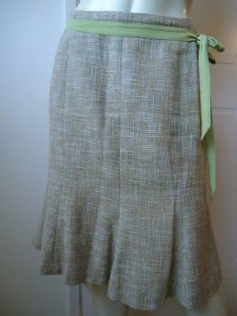 Ann Taylor Linen Flared Lined Ribbon Tie Gored Sassy Skirt Beiges