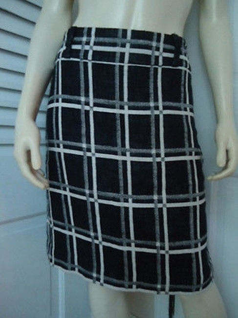 Ann Taylor Linen Blend Black White Checked Straight Lined Hot Skirt Multi-Color