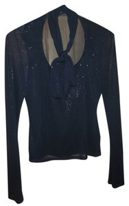 Bisou Bisou Sparkle Polyester Machine Washable Top Navy