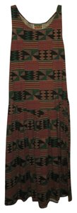 Tribal Print Maxi Dress by Free Island USA Drop Hem Vacation